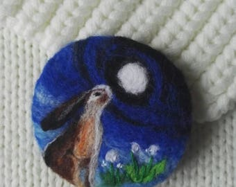 Needle felted brooch,wool felt art, landscape,felt brooch,hare,rabbit, jewelry, OOAK