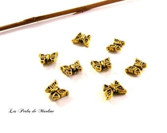 Set of 2 Butterfly - gold - 12x8mm - ref:501 shape metal beads