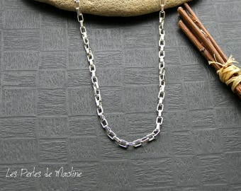1 meter of chain with rectangular links - silver color - 5 x 3 mm - ref:r024