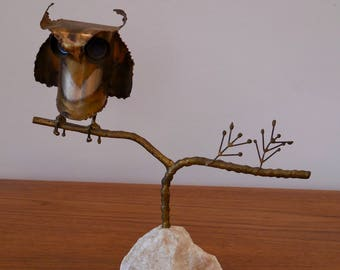 Curtis Jeré Signed Brutalist Owl Sculpture Mid Century