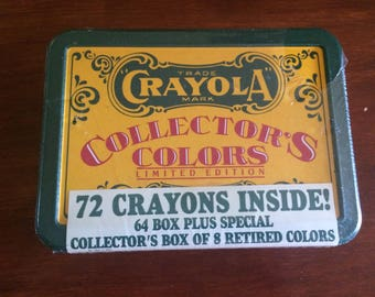 Vintage Crayola Collector's Colors, Limited Edition, Tin plus 64 crayons + special collector's box of 8 retired colors.