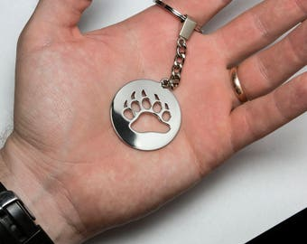 Steel Keychain or pendant with bear's footprint- FREE SHIPPING