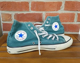 Vtg 80s Converse Made In USA Hi Top Sneakers | Vintage Retro Pine Green Teal | Mens 8.5 | TUFF