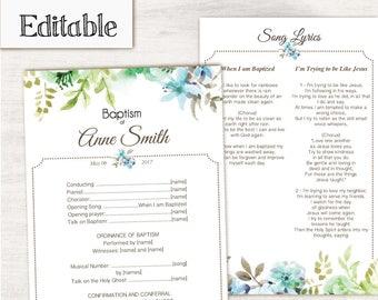 Baptism Program, Editable PDF, LDS Printable Digital Handout Girl Baptism, flowers blue green watercolor, Program Template