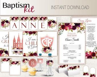 Baptism Girl Kit, Editable LDS Baptism Program, Cupcake Toppers, Water Bottle Wraps, Note Card, Poster Baptism, banner, wine boho red