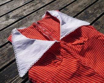 1970s dress 70s Vintage red white stripes empire waist sleeveless maxi dress pointy collar Hand made boho chic xsmall size