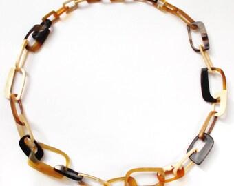 Buffalo horn necklace - Horn chain necklace - collier en corne de buffle - KAI-4690