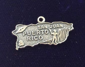 Sterling silver Puerto Rico charm vintage # 105s