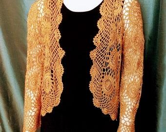 Gold Coctail Jacket/Lace Crochet Bolero/Sparkle Evening Jacket/Gold Crochet Cardigan/Vintage Long Sleeves Crochet Bolero/No.364