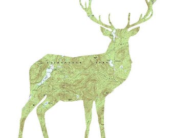 Adirondack Deer Map, Deer Wall Decor, Adirondack Print, ADK Art, Adirondack Deer Poster, Adirondack Art, Adirondack Mountains