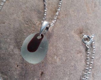 Red & Clear Seaglass Pendant set with a Sterling Silver Bail,  Optional Chain, Genuine Seaglass, Women's Valentine's/Birthday Gift