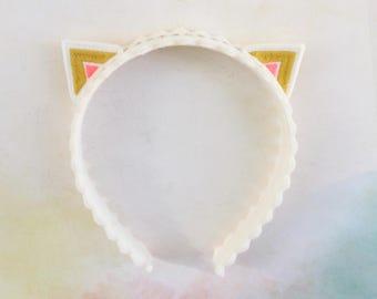 Kitty Ears Headband / Cat Ears / Pink and Gold / Wool Felt / Girl's Accessory / Embroidered Headband
