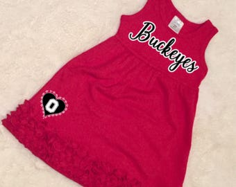 COLLEGIATE CORNER: Ohio State Buckeyes Toddler Game Day Dress, College Football little girl dress, Buckeyes  girls dress