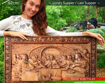 "36"" Lords Supper / Last Supper Wood Carved 3D The bible icon orthodox picture"