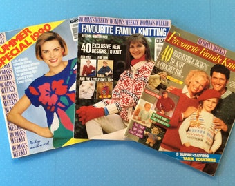 Womens Weekly Knitting Magazines - 1987 1989 and 1990 Vintage Needlecraft Books - Retro Craft Magazines - Crochet Knitting Embroidery Sewing