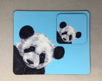 Hand painted panda bear Placemat & Coaster Set pink or blue OFFE Gift