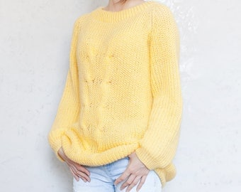 Yellow sweater oversized sweater pregnancy clothes maternity sweater cozy sweater loose sweater chunky sweater for women Plus size jumper