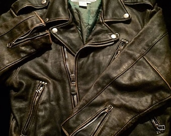 1969 Avirex Distressed Black & Brown Medium Sz:44