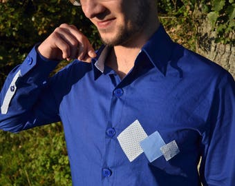 Electric blue and white men's shirt