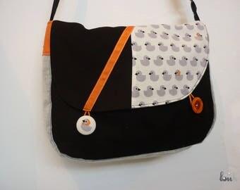 Bag in cotton, velvet and grey, orange and black patterned ducks