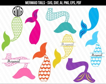 Mermaid tail svg, Mermaid svg dxf, Mermaif tail cliparts, Mermaid tails svg dxf png, Mermaid Tail Monograms, Cricut, silhouette