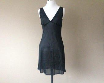 S/M / Black Nylon Crepe Full Dress Slip / Vintage / Small/Medium