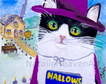 Black and White Cat Print, Halloween Art Cute, Cat Lover Gift, Tuxedo Cat Picture, Handmade Halloween Decorations, Cute Animal Art Halloween
