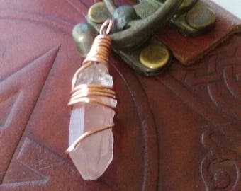 Crystal Copper Wire Wrapped Pendant