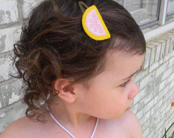 Girl's Lemon Snap Clip or Headband   Baby and Toddler Bows