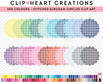 100 Stitched gingham scalloped circle Clipart, Commercial use, Digital clip art, Digital images, Rainbow digital scrapbooking clip art