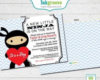 Ninja Baby Shower Invitations - Printed Baby Shower Invitations - Double Sided
