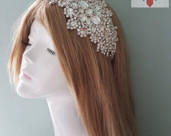 Silver Irredecent Crystal 1920s Art Deco Vintage Stunning Statement HeadBand Wedding Party Hair Facinator
