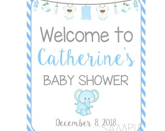 Welcome Baby Shower Poster Sign, Boy Baby Shower,  Announcement Sign, Pregnancy Poster Sign, Printable Poster, Keepsake Sign, Customized