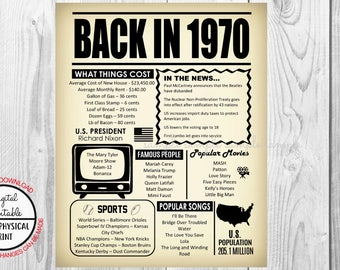 48 Years Ago Back in 1970, 48th Birthday Poster Sign, Back in 1970 Newspaper Style Poster, Printable, Instant Download, 48 years ago facts
