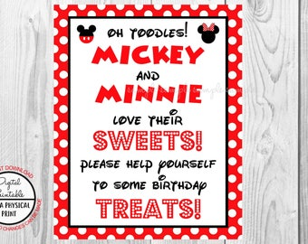 "Oh Toodles Love Their Sweets To Some Birthday Treats Sign, Mickey Mouse Birthday Party Sign, 8""x10"" Printable, Instant Download"