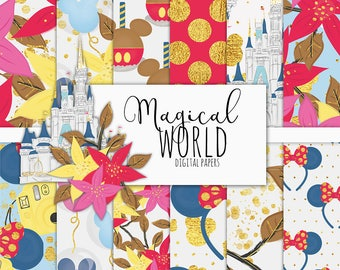 Magical World Digital Paper Pack | Scrapbook Paper | Printable Background | 12 JPG, 300dpi files.