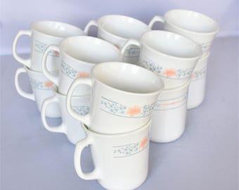 Set of 12 white Corningware Tea cups / Made in USA Tea Cups