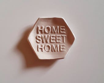 """Home sweet home"" tea bag rests ceramic laying Taupe tea bag, gift for Dad, MOM, Valentine's day"