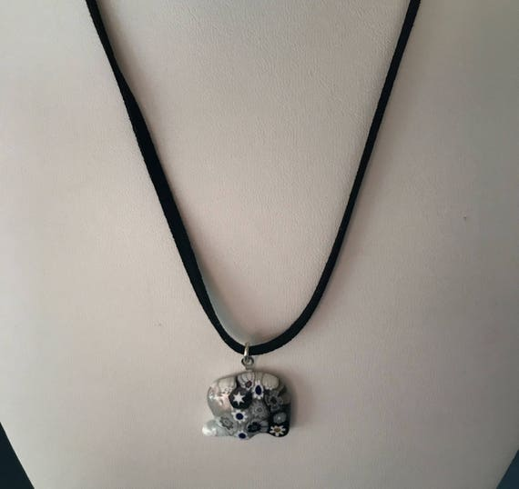 Murano Glass Millefiore Elephant Pendant Necklace Black Suede Cord
