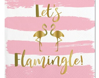 Flamingo Napkins,Flamingo Party, Let's Flamingle,Summer Napkins,Summer Party,White and Gold,Gold Foil Napkins,Gold Flamingo,Flamingo