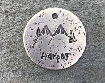 Dogs Tags for Dogs, Dog Tag, Snow Capped Mountain Tag, Hand Stamped Dog Tag, Personalized Dog Tag, Pet Id Tag, Custom Dog Tag, Metal Hounds™