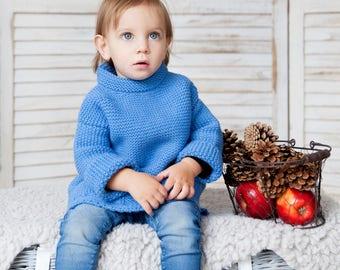 Knitted sweater / Wool sweater / Knitted wool sweater / Girl sweater / Alpaca sweater / Boy sweater / Gift / blue sweater/ Christmas gift