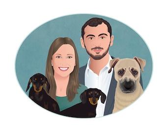 Custom portrait with pet, pets portrait, personalized illustration, portrait illustration,