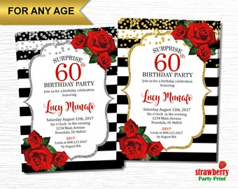 60th Birthday Invitations for Women, Floral Birthday Invitations, Surprise Birthday Invitation, Red Roses Black and White Stripes, A35