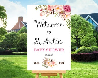 Boho Baby Shower Welcome Sign Printable, Bohemian Floral Welcome Sign Bridal Shower Decorations, Personalized Printable Sign A36 A37 B54 C24