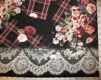 Tartan Rose Border Michael Miller 100% Cotton Fabric CR #9