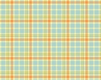 By The HALF YARD - Mommy and Me by Shelly Comiskey for Henry Glass, Pat #6358-11 Coordinating Plaid in Blue, Yellow, Orange, Green and Cream