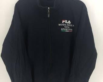 Fila International Italy Sport Classic Vintage Design Skate Sweatshirt Sweater Varsity Jacket Size L #A767