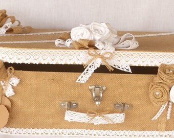 Wedding urn-shaped bag in Burlap and fabric