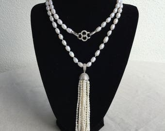 Knotted Freshwater Pearls Necklace with Tassel